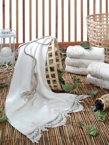 Dantela Fransiz Güpürlü Bambu 6 Adet 50x90 El Havlusu Ürün Kodu:1800 Renkli